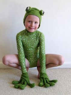 Frogs costume idea. eyes are mirror balls, hands have frog fingers -- Would need to add legs/pants for colder climates!