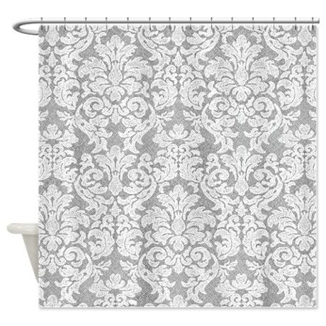 lace pattern - white gray Shower Curtain on CafePress.com