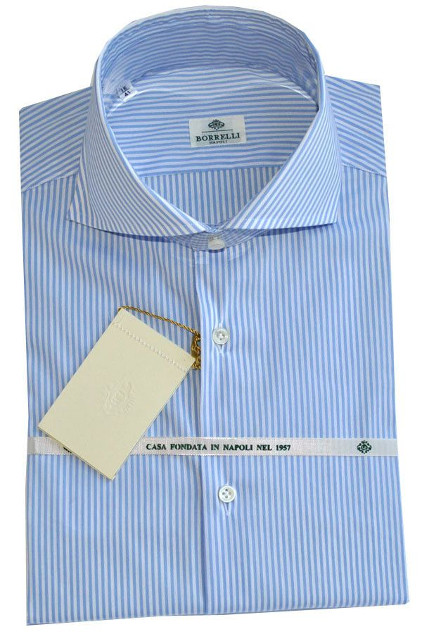 Luigi Borrelli Shirt White Blue Stripes Cutaway Collar SALE by Luigi Borrelli | Tie Deals