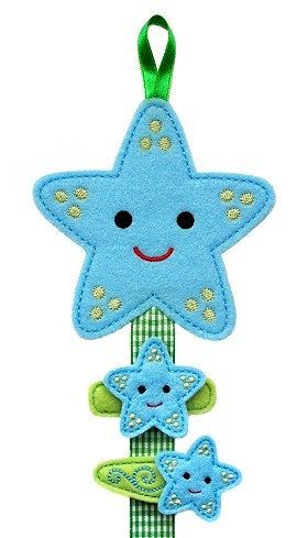 Felt Hair Clip Holder and No Slip Clips Set- STARFISH.
