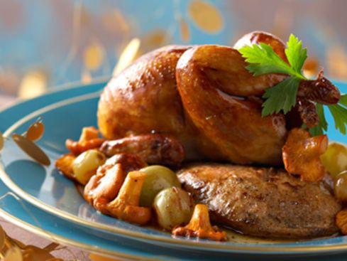 Cailles rôties au foie gras