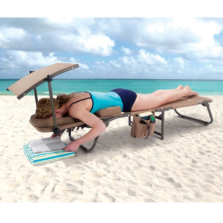 The Removable Shade Ergonomic Beach Lounger - Hammacher Schlemmer