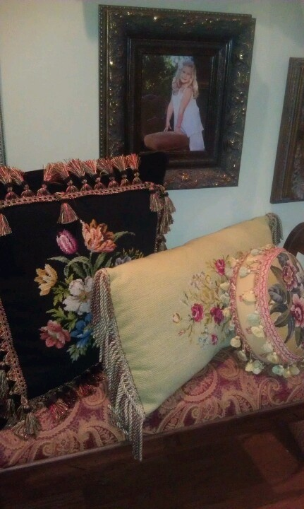 Collection of needlepoint pillows