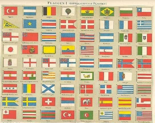 1898: International Flags: Chromo Lithograph