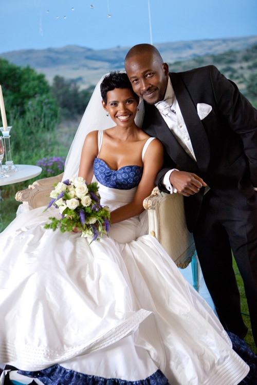 DSTV MNET TV soapie: The Wild Lelo and Tiro's African contemporary wedding.Bodice and trim in shweshwe print. Love it!