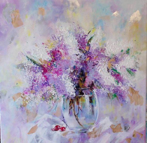 Original floral paintinglilac by AntigoniArtGallery on Etsy