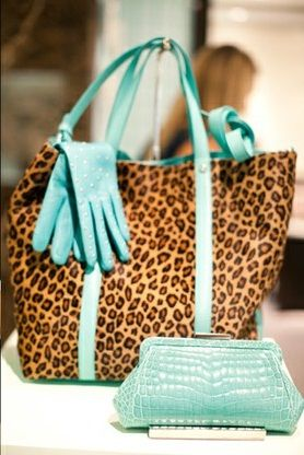 Tiffany blue gloves and leopard purse
