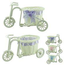 yeni tasarımlar büyük tekerlek Yuvarlak sepet rattan yüzer vazo saksı kapları küçük çiçek bisiklet saksı örme el sanatları(China (Mainland))