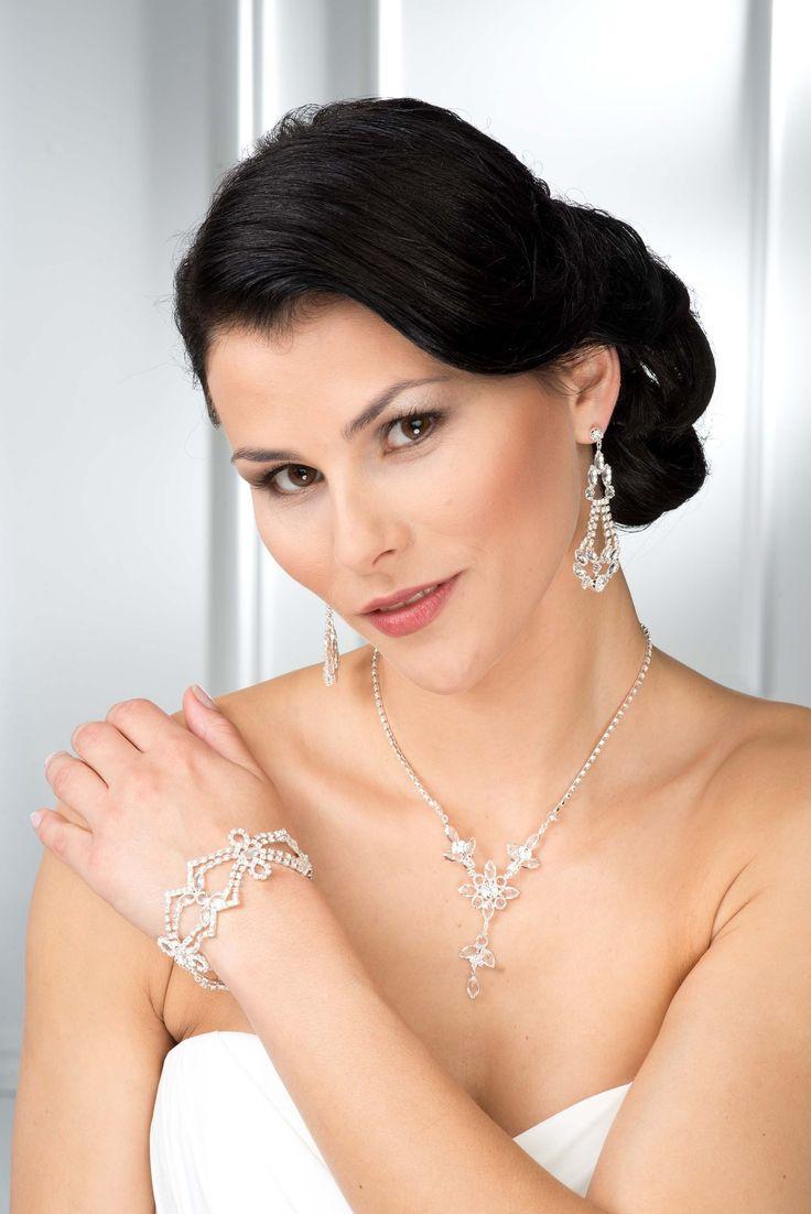 Komplet biżuterii ślubnej - Cyrkonie nr 1