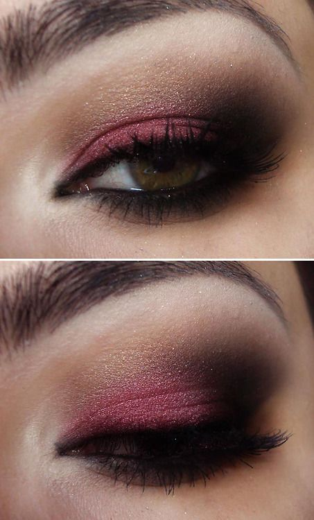 pink and black smoky eye but I think a pretty royal purple would be awesome with some shimmer