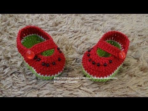 Passo a passo Sapatinho Melancia em Crochê - YouTube