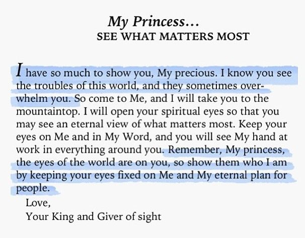 To My Princess... see what matters most