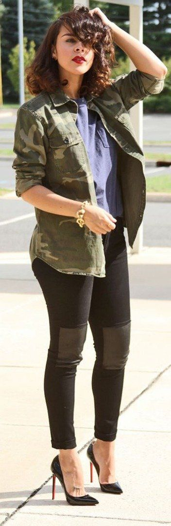 Camo outfit idea. Wear a silk shirt and skinnies with patchwork knees. The hot heels here make this outfit stand out!