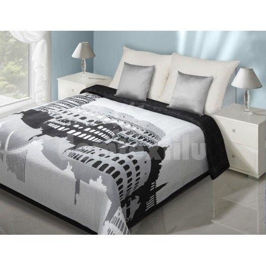 Biely prehoz na posteľ o svetovými pamiatkami