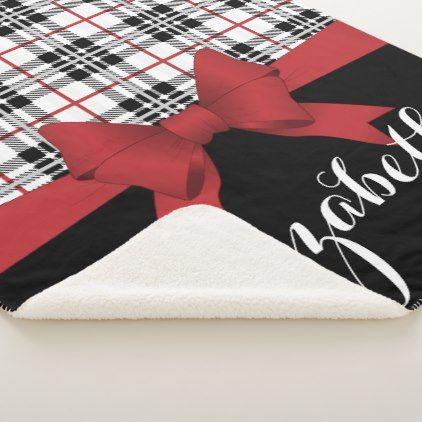 Red Black Tartan Pattern and Ribbon Cute Kids Name Sherpa Blanket - modern style idea design custom idea