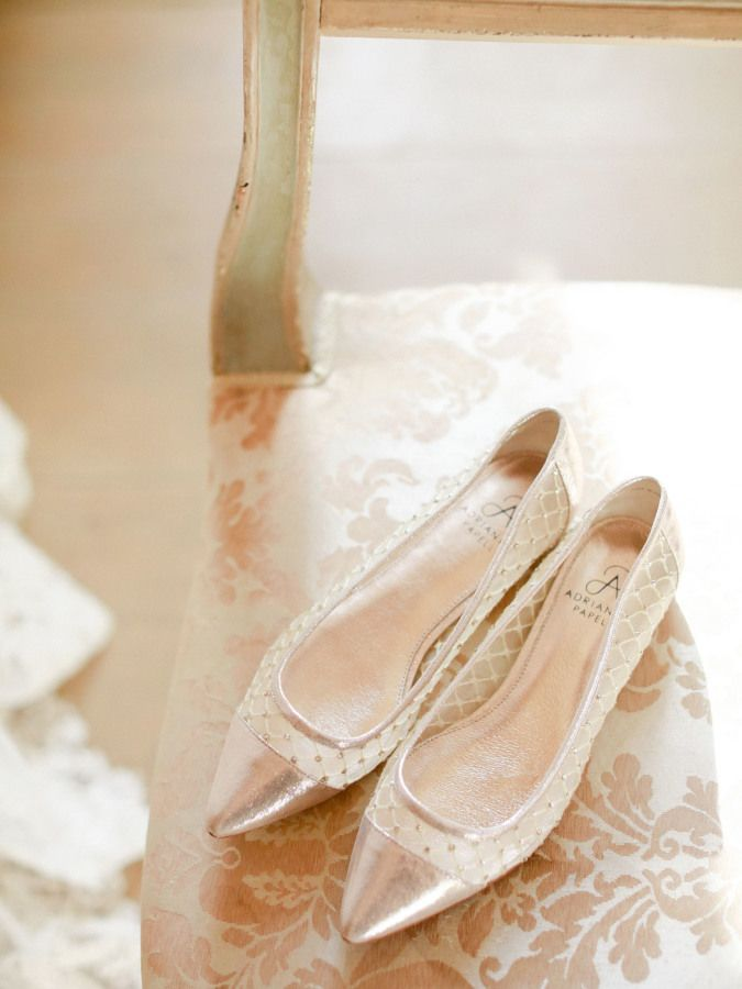 Rose gold pointed toe ballet flats: http://www.stylemepretty.com/2017/01/26/want-to-elope-in-italy-this-is-exactly-why-you-should/ Photography: Krystle Akin - http://www.krystleakin.com/