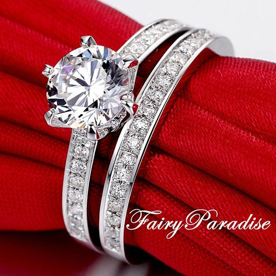 2 pcs Wedding Ring Set 2 ct (8 mm) Round Cut Man Made Diamond Solitaire Channel Set Band Engagement ring plus Wedding Band Bridal Set