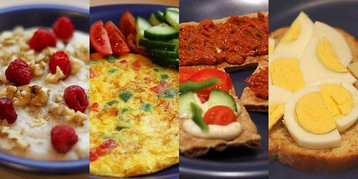 Fire sunne frokoster.