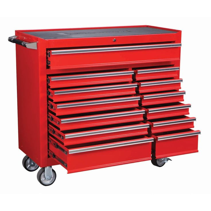 "U.S. General Pro 68784 Roller Cabinet, 44"", 13 Drawer, Gloss Red Industrial Quality - - $389 / Harbor Freight"