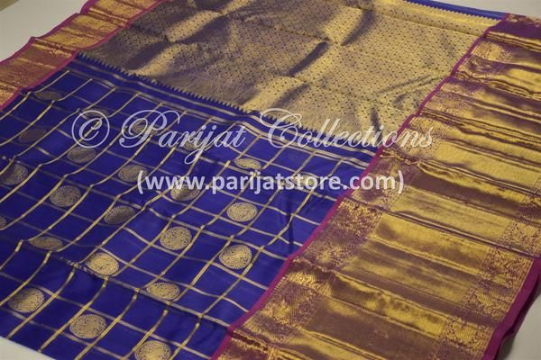 Royal Blue Pure Kanchi Organza Silk Saree with Purple Pallu & Bavanchi Border