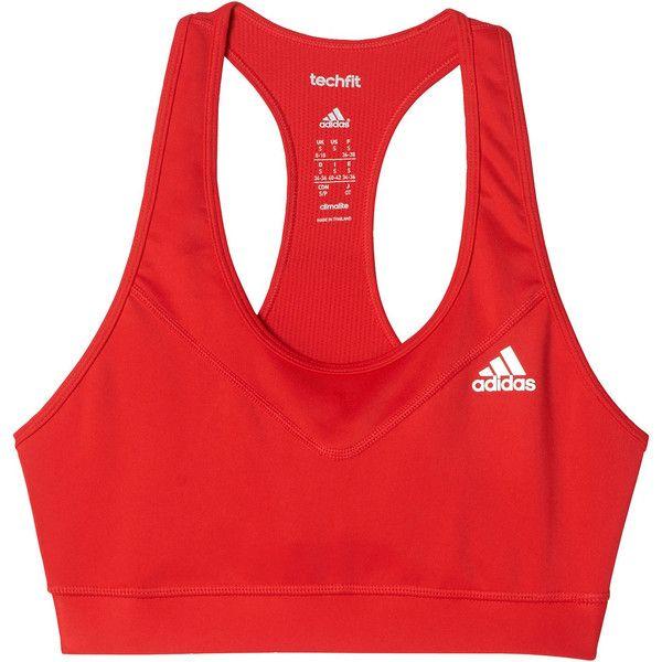 adidas Techfit Sports Bra ($25) ❤ liked on Polyvore featuring activewear, sports bras, adidas sports bra, adidas, adidas sportswear, adidas activewear and red sports bra