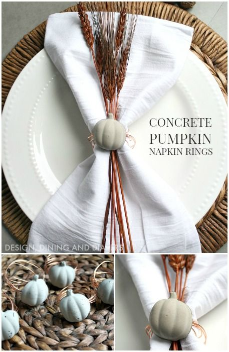 Tutorial for Concrete and Copper Pumpkin Napkin Rings. These are so easy and inexpensive to make.