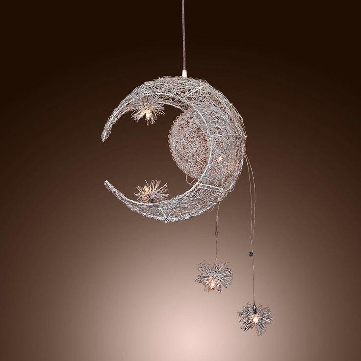 Luna y estrella dulce dormitorio iluminación colgante Lámpara Araña accesorio ligero de techo - comprar a precios bajos en la tienda en línea Joom