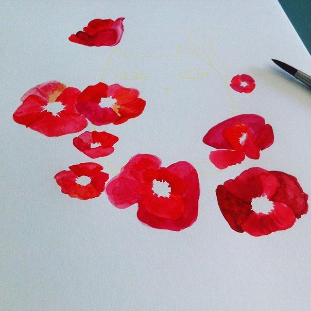 Painting some poppy, #happy weekend!  #gatosyrinocerontes #watercolor #print #flowers #workinprogress