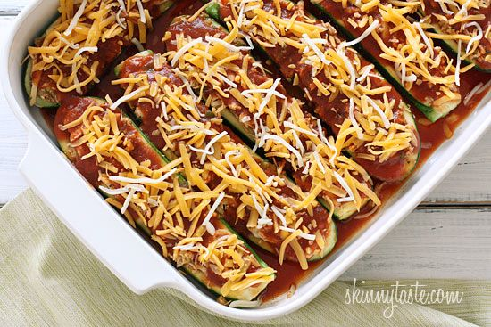 Chicken Enchilada Stuffed Zucchini Boats | SkinnytasteStuffed Zucchini Boats, Low Carb, Enchiladas Chickenenchiladas, Chicken Enchiladas Recipe, Chicken Food, Enchiladas Stuffed, Chicken Chickenenchiladas, Healthy Recipe, Healthy Food