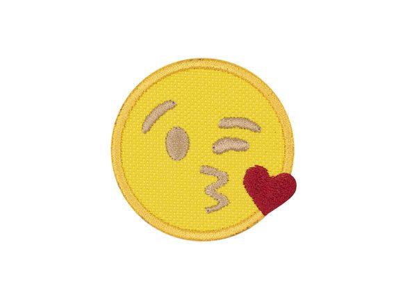 Throwing a Kiss Emoji Embroidered Iron On Patch by WinksForDays