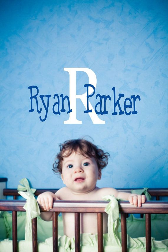 Kids Wall Decal - Personalized Name Childrens Vinyl Wall Decal for Baby Boy or Girl Nursery on Etsy, $20.00