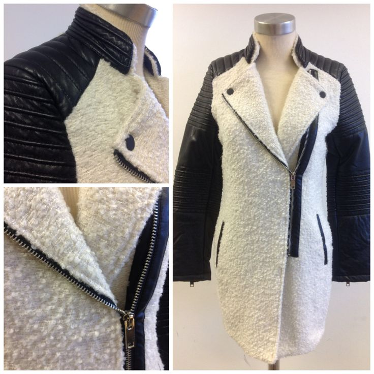Boucle coat with PVC trim at #Nicci