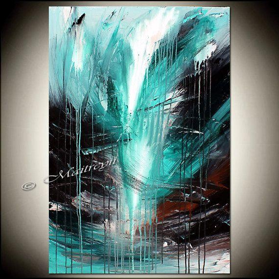 Peinture abstraite moderne turquoise huile par largeartwork sur Etsy