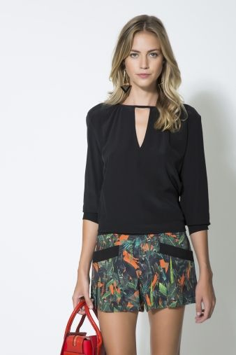 CAMISA SEDA DECOTE V LISA / Animale e-Store