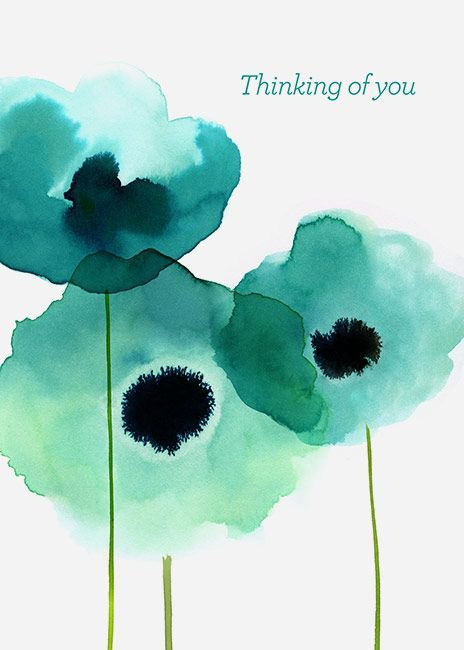 Margaret Berg Art : Illustration : get well / sympathy card ... impressionistic watercolor flowers .... turquoise puddles ...