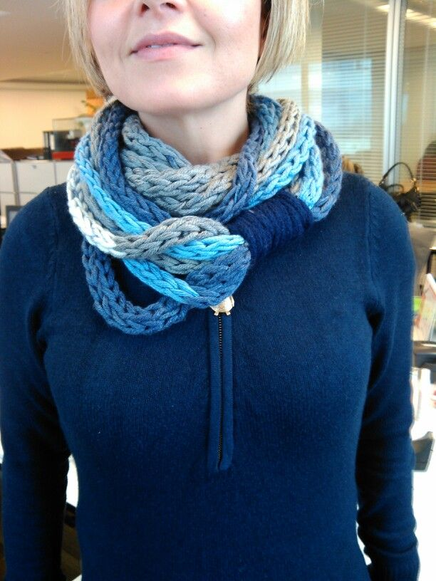 Infinity scarf-finger knitted -wrapped with spool knitted cord