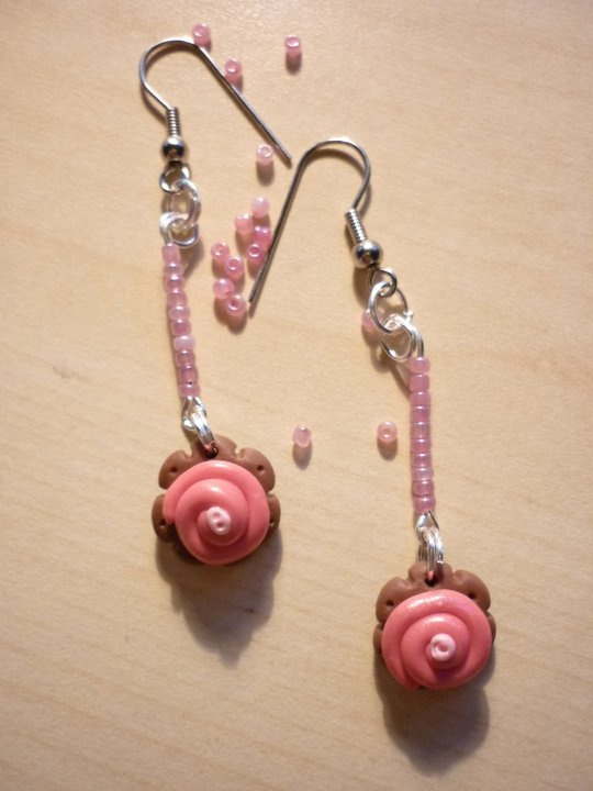 earrings, pink, handmade, http://www.facebook.com/media/set/?set=a.158296067564115.35485.158290544231334=3