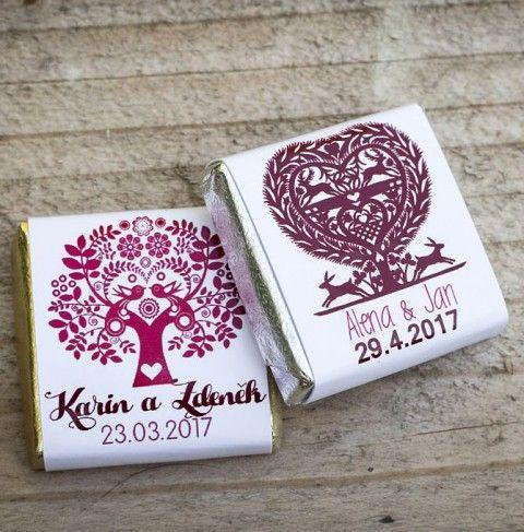 Svatební čokoládky FOLK II svatba folk svatební jmenovky svatební výzdoba dárek pro hosty miničokoládky svatební čokoládky