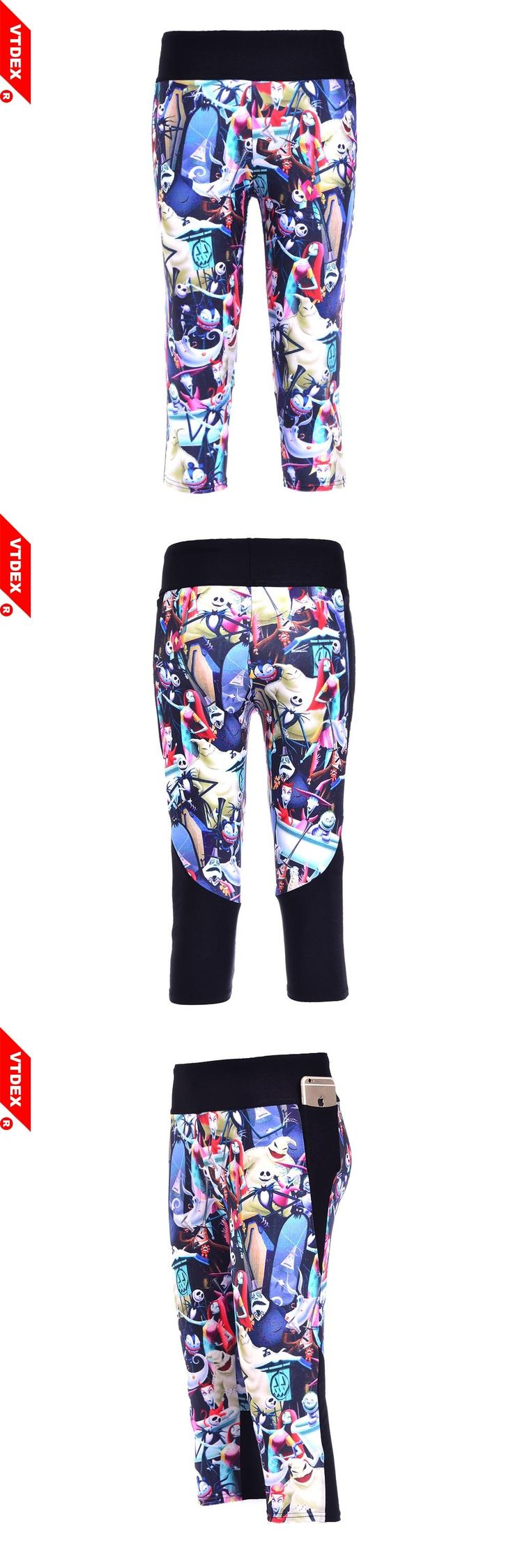 [Visit to Buy] VTDEX Yoga Pants Capri Women Digital Printed Fitness Sport Leggings Workout Elastic Skinny Running Tight Mallas Mujer Deportivas #Advertisement