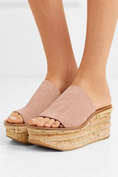 650fd637ed13 Chloé - Camille Suede Wedge Sandals - Neutral