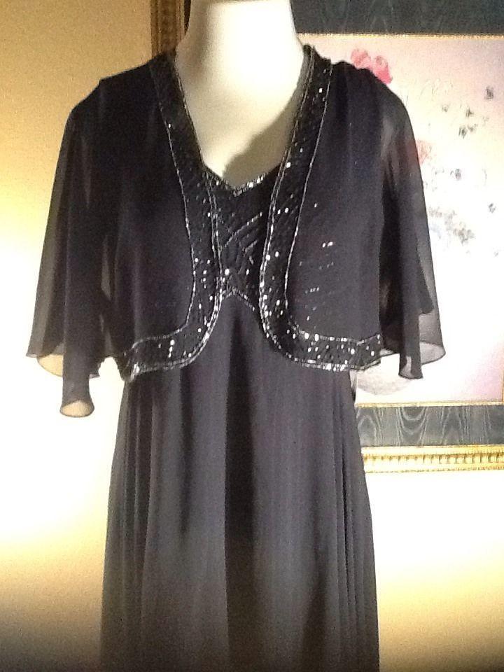 J KARA Size 18 Navy Mock 2-Pc Mother Of The Bride Dress Gown W/Jacket