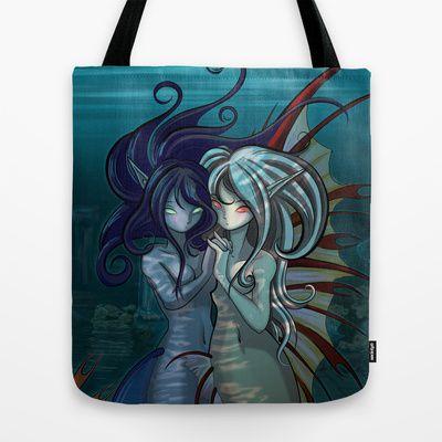 Fantasy style Anime / Manga mermaids Tote Bag by Tazmaa's Anime & Illustration Studio - $22.00
