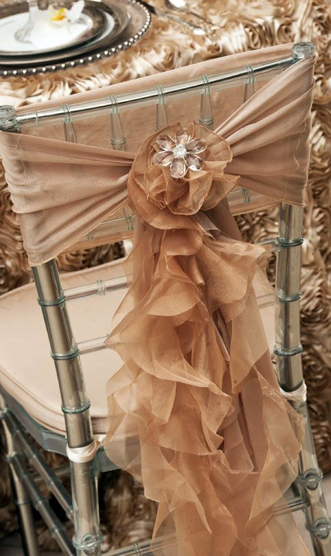 What inspires you? Classy Covers(One of TBD's Preferred Vendors) has elegant and contemporary chair covers to choose from! Find some like this at http://www.thebridaldish.com/vendors/classy-covers