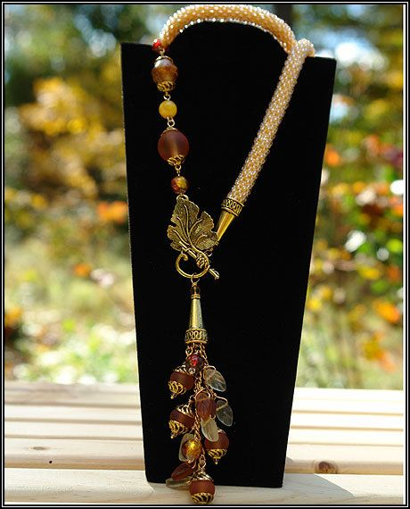Golden Autumn Necklace - The necklace -- 26 inches. The tassel - 4'' long.