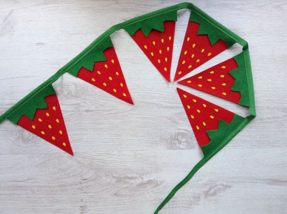 Strawberry Bunting Garland Summer Party Fruit by BellaandRoo