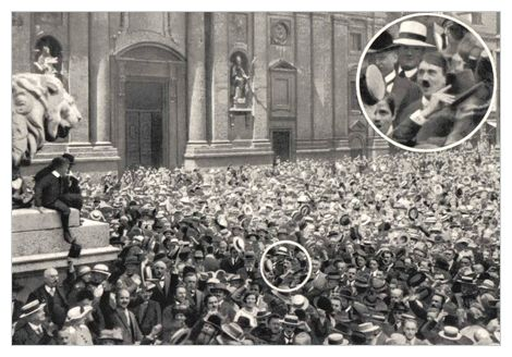 First, this was taken on August 2, 1914, at Munich's Odeonsplatz, and it shows the cheerful reaction of a German crowd in the plaza during the announcement of World War I,    there's a subtle hint of the terror that awaits the country -- take a closer look at the man in the circle and see if you recognize him ...      Read more: http://www.cracked.com/article_19894_8-ordinary-photos-hiding-mind-blowing-details.html#ixzz2MU7IyXNf