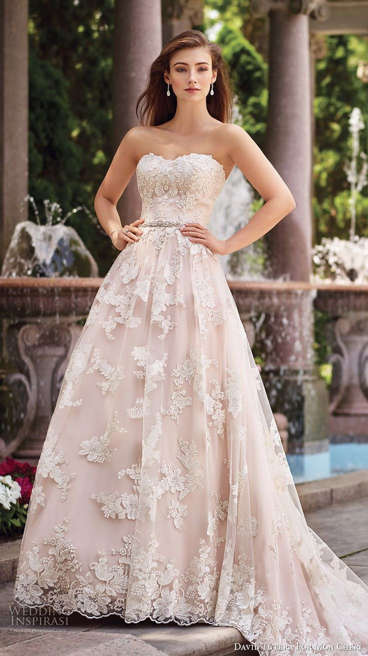 david tutera mc spring 2017 bridal strapless sweetheart neckline full embellishment lace romantic blush color a  line wedding dress chapel train (117276) mv