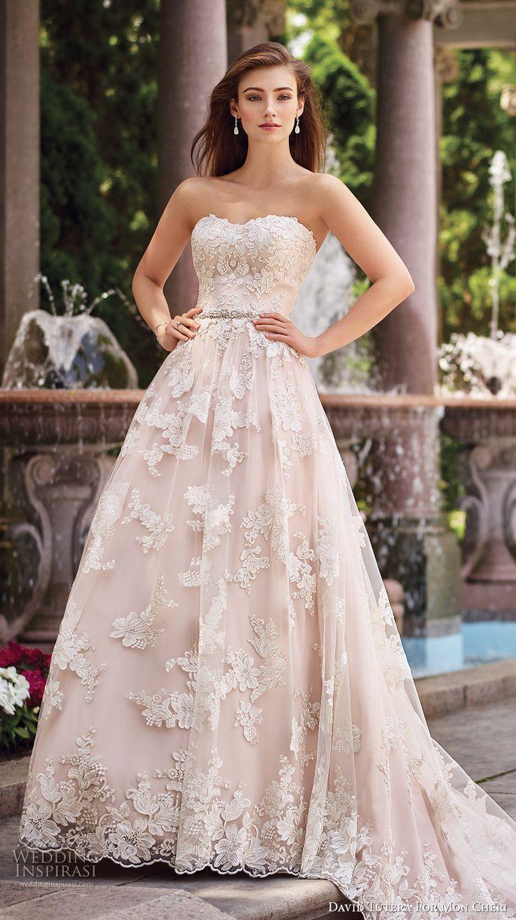 David Tutera for Mon Cheri Spring 2017 bridal strapless sweetheart neckline full embellishment lace romantic blush color a  line wedding dress chapel train (117276) mv #wedding #bridal