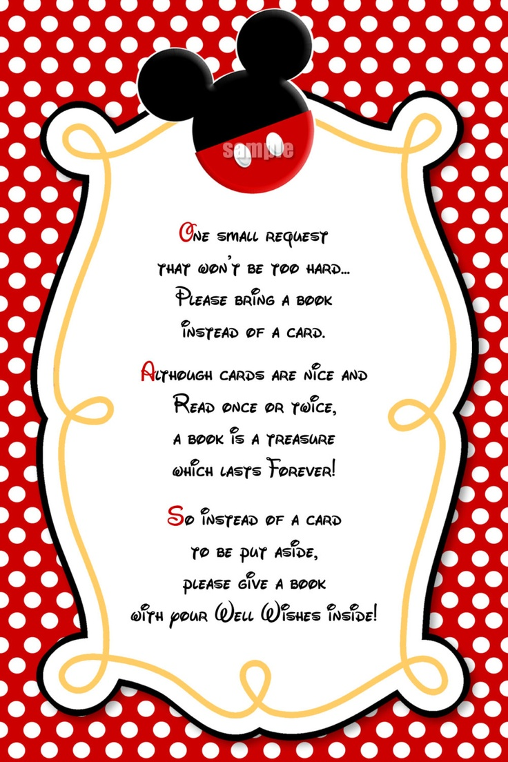 Love this! Please Bring a Book Instead Of A Card Mickey Mouse Invitation Insert - Red Yellow Black Mickey Mouse Birthday Party Invitations. $5.00, via Etsy.