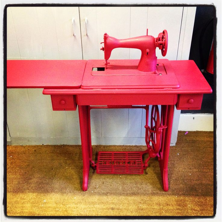 Singer treadle sewing machine painted in autentico chalk paint ruby